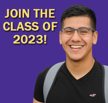 """Join the class of 2023!"" Image of a male student smiling at the camera."