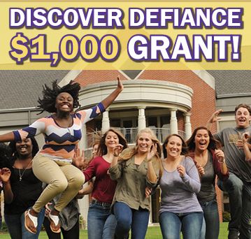 Group of nine students running at the camera with smiles and laughs, some jumping in excitement. A brick campus building with white pillars is in the background. Text says: Discover Defiance $1000 grant!