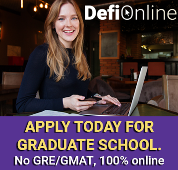 "Young woman at a laptop. Text reads: Defi Online and ""Apply today for graduate school. Start as soon as January!"""