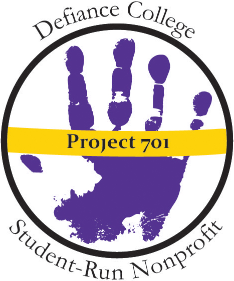 A purple handprint inside a black circle. A yellow line runs across the middle saying Project 701. Outside the circle says: Defiance College's student run non-profit.